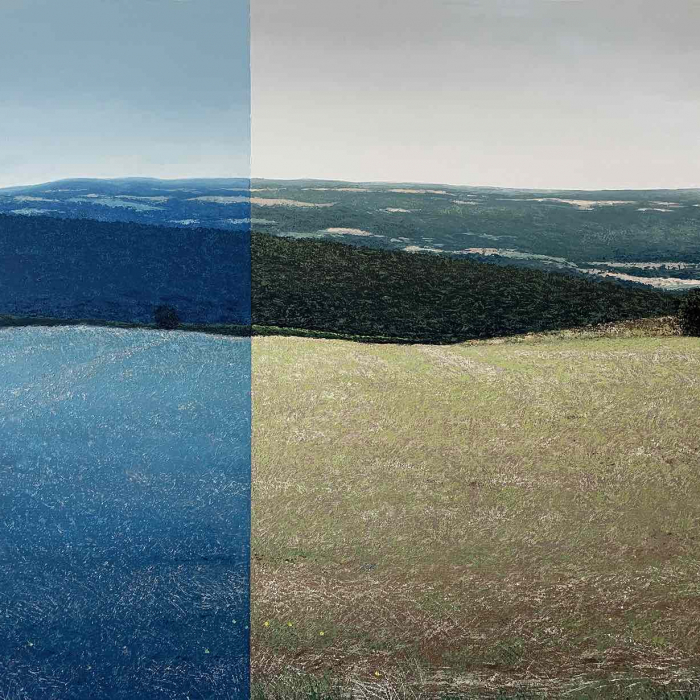 """Oil on canvas painting of the French countryside of rolling hills and bodies of water, one-third of the canvas entirely in shades of blue, by Benoît Trimborn titled """"Bourgogne et Variation Bleue."""""""