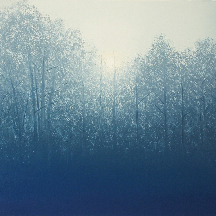 """Oil on canvas painting of a forest, emerging as if from fog, entirely in shades of blue by Benoît Trimborn titled """"Brouillard Bleu."""""""