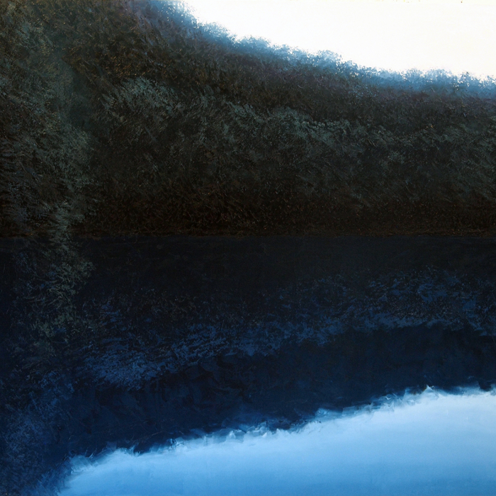 """Oil on canvas painting of a dense tree canopy reflected in still, blue water by Benoît Trimborn titled """"Canopee Bleu."""""""