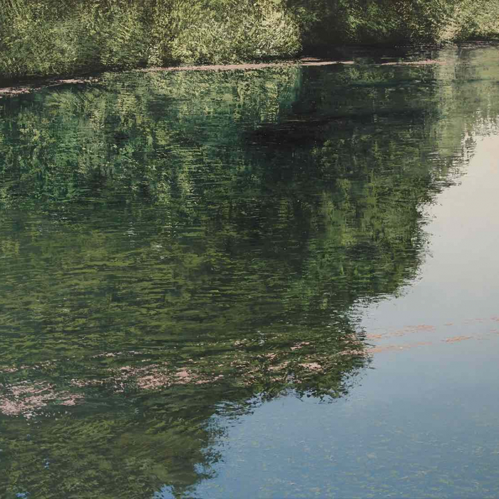 """Oil on canvas painting of a lush, grassy bank and blue sky reflected in water by Benoît Trimborn titled """"Etang en Été."""""""