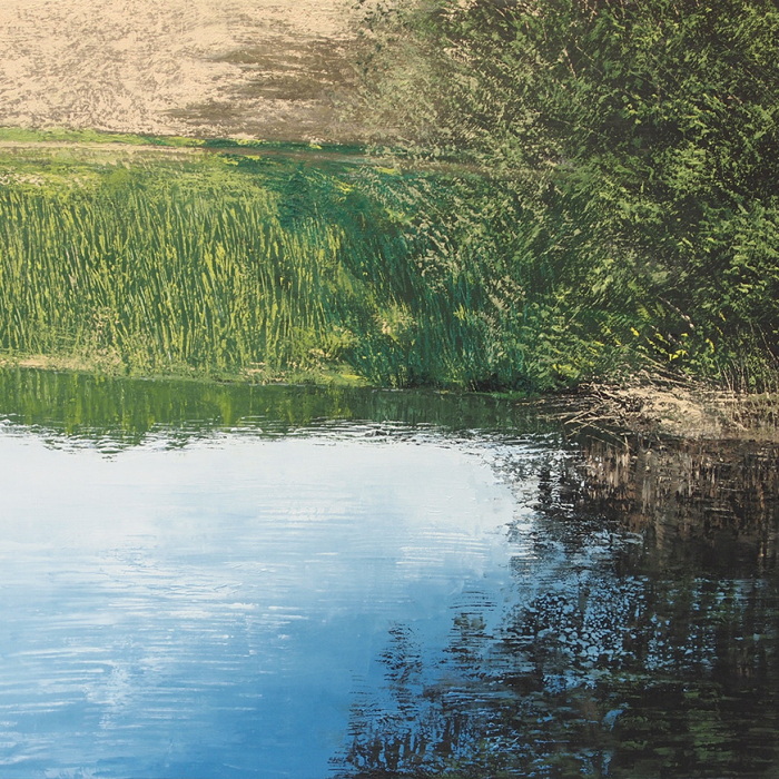 """Oil on canvas painting of a lush, grassy bank and blue sky reflected in water by Benoît Trimborn titled """"Le Ruisseau II."""""""