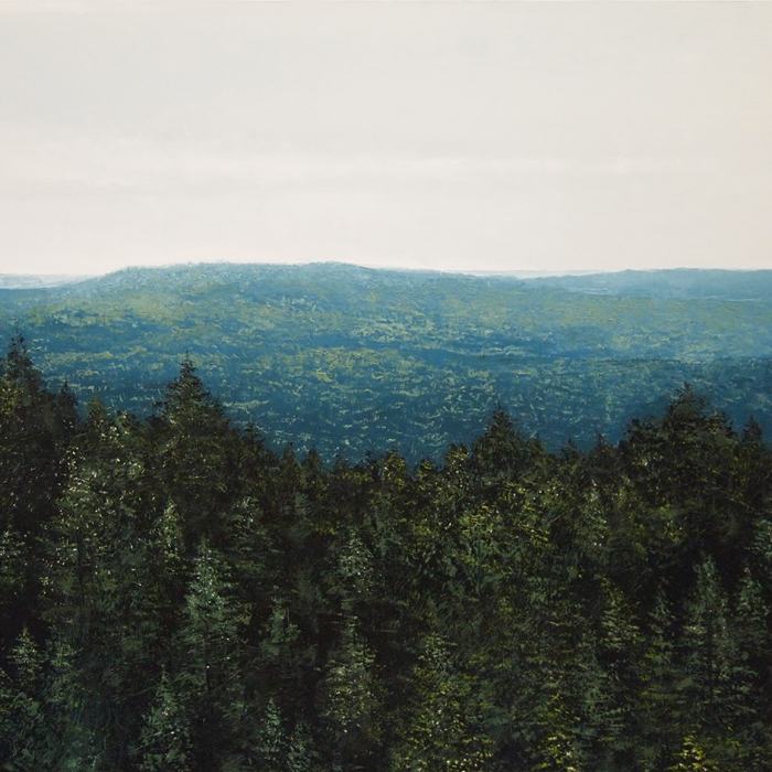 """Oil on canvas painting of a view above the trees of rolling hills of forest beyond by Benoît Trimborn titled """"Mont Saint-Odile."""""""