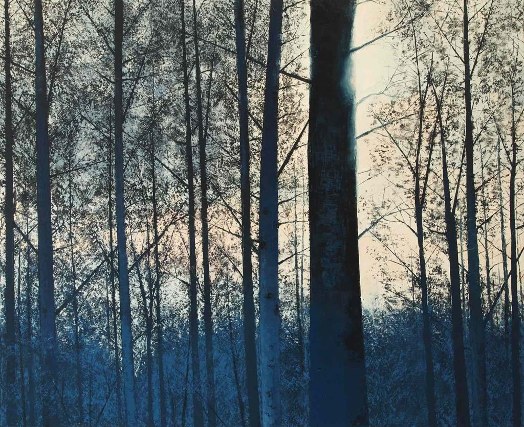 """Oil on canvas painting of the sunshine glinting through a forest of trees entirely in shades of blue by Benoît Trimborn titled """"Printemps Bleu."""""""