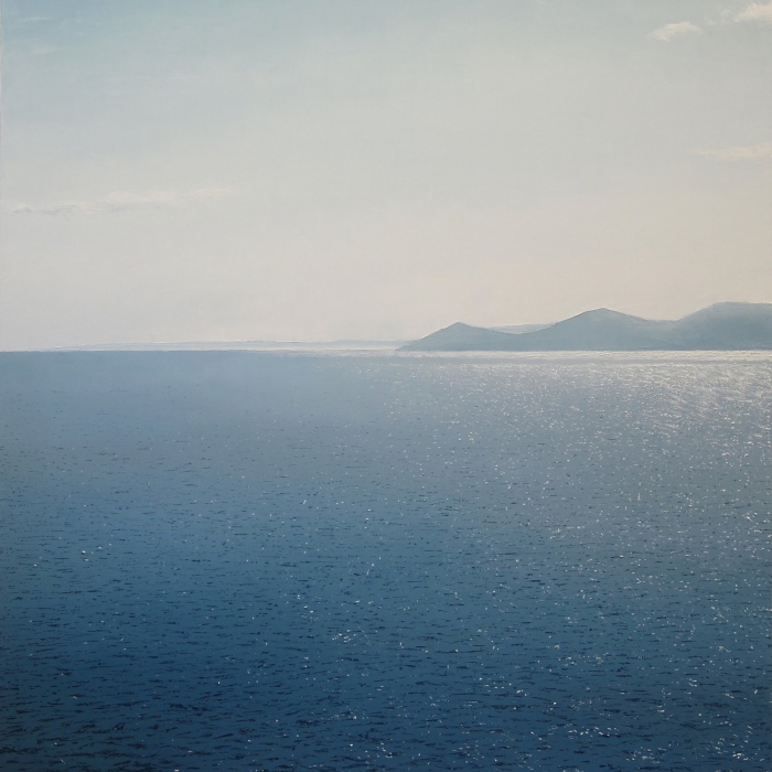 """Oil on canvas painting of a brilliantly reflective sea with a rocky Greek island in the distance by Benoît Trimborn titled """"Sifnos IV."""""""
