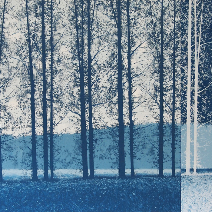 """""""Variations bleues diptyque"""", oil on canvas, 39"""" x 78¾"""" (89 x 200cm)"""