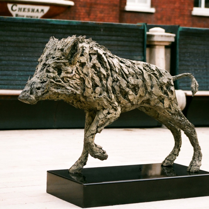 """Wild Boar"", bronze, 35"" x 47¼"" x 8½"", (89 x 120 x 21.6cm)"