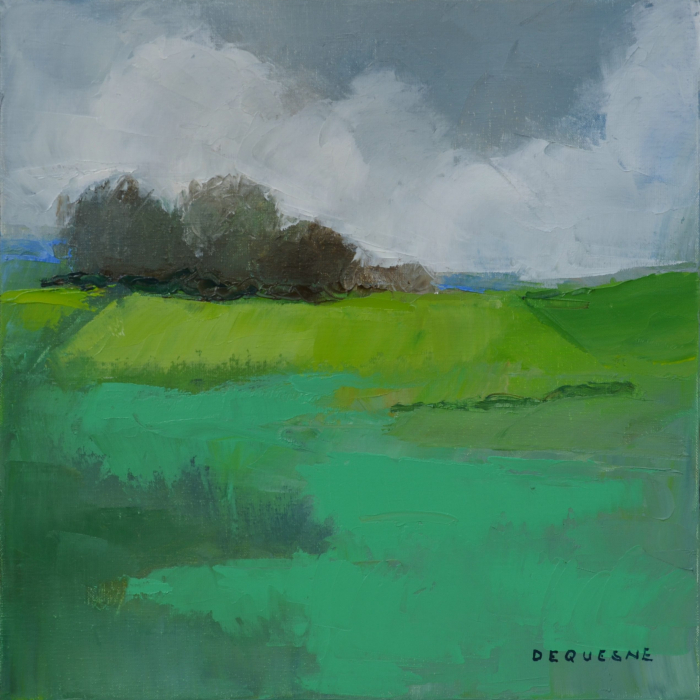 """""""Square Meadow"""", oil on canvas, 15¾"""" x 15¾"""" (40 x 40cm)"""