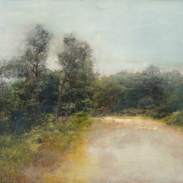 """Par où la terre finit"", mixed media on canvas, 28¾"" x 39¼ (73 x 100cm)"
