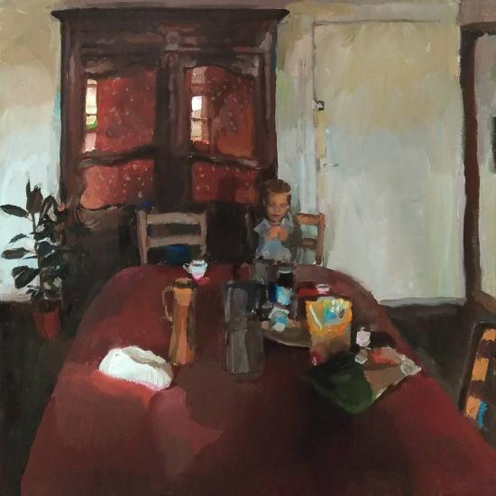 """""""La nappe rouge"""", oil on canvas, 19¾"""" x 19¾"""" (50 x 50cm)"""