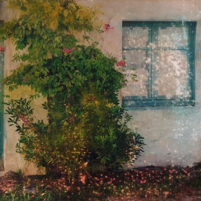 """""""La surprise"""", mixed media on canvas, 11¾"""" x 11¾"""" (30 x 30cm)"""