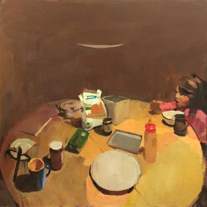 """Lou à table"", oil on board, 19¾"" x 19¾"" (50 x 50cm)"