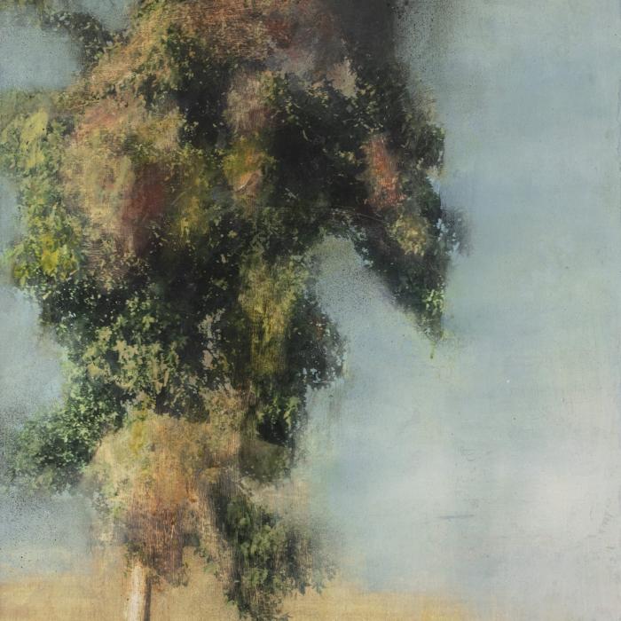 """Une grande attente"", mixed media on canvas, 21¼"" x 25½"" (54 x 65cm)"