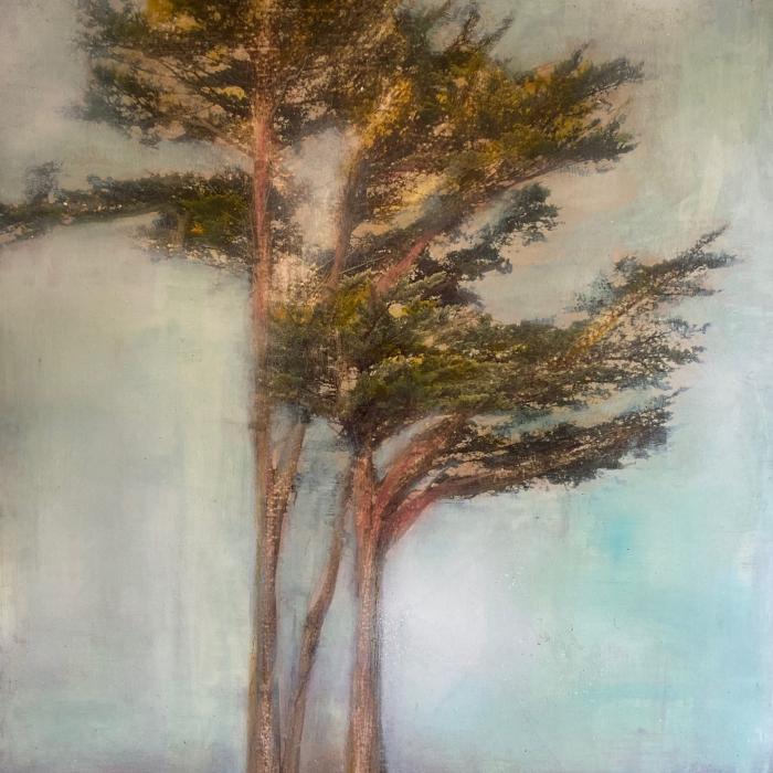 """""""Avec toi"""", mixed media on canvas, 39¼ x 31½"""" (100 x 80cm)"""