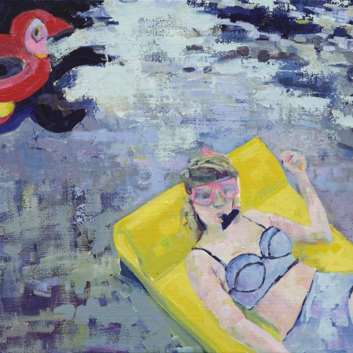 """""""I say Miami you say LA"""", oil on canvas, 18"""" x 27"""" (46 x 68.6cm)"""