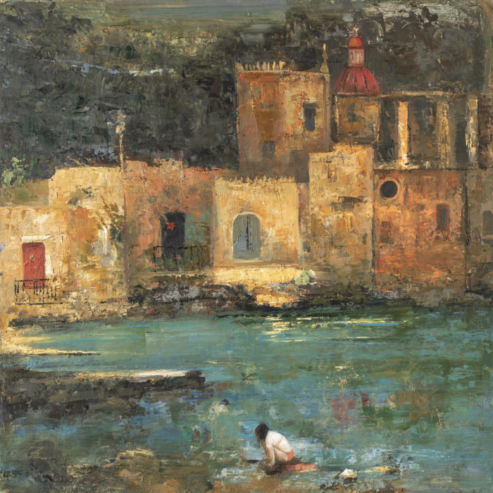 """""""Bay in Gozo"""", oil and wax on canvas, 39½"""" x 39½"""" (100 x 100cm)"""