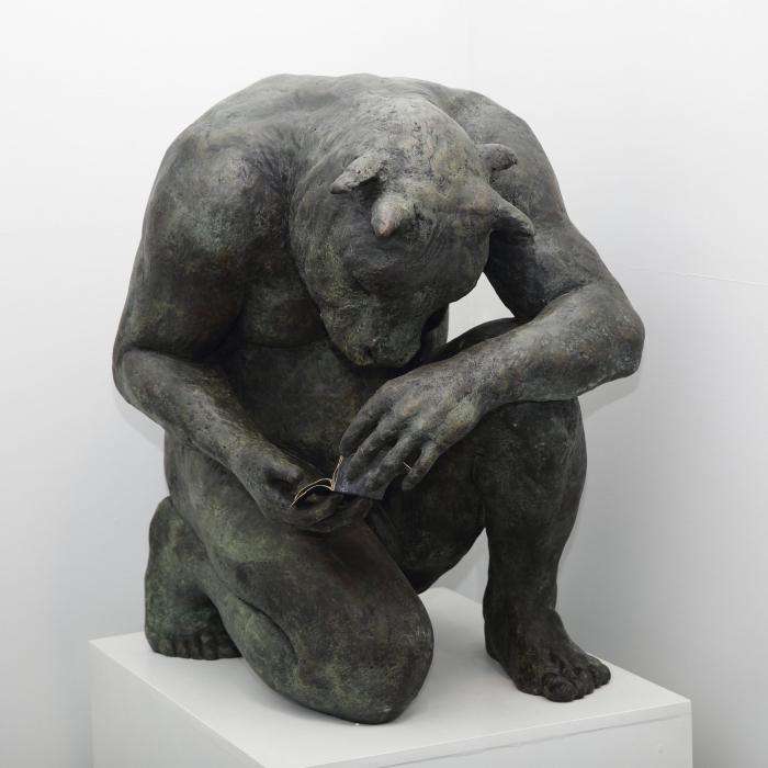 """Giant Crouching Minotaur"", bronze, 35 1/2"" x 33 1/2"" x 31 1/2"" (90 x 85 x 80cm)"