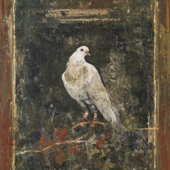 """""""Bird of Pompei"""", digigraph: monoprint with oil and wax on board, 51"""" x 32¾"""" (130 x 81cm)"""