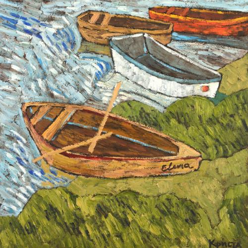 """Boats"", Oil on cardboard, 24¼"" x 23½"" (61.5 x 60cm)"