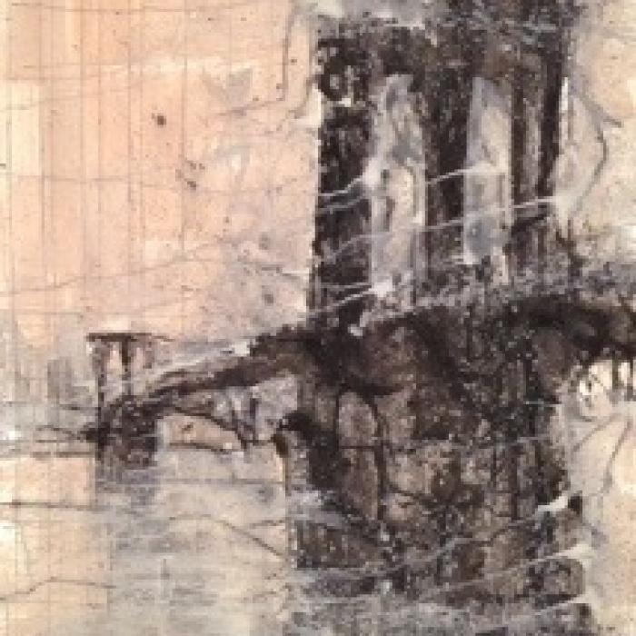 """Brooklyn Bridge, Dusk"", watercolor on paper, 40"" x 60"" (100 x 152cm)"