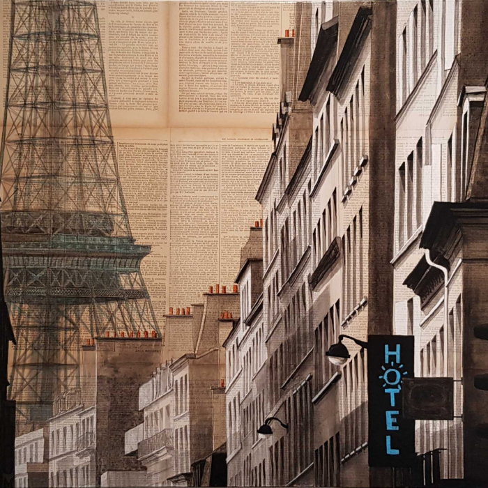 """""""Hotel Gustave"""", mixed media on canvas, 25½"""" x 36¼"""" (65 x 92cm)"""