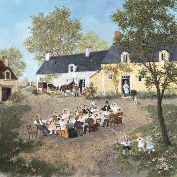 """Limited edition print of family members eating on the lawn of a farm house by Fabienne Delacroix titled """"Mariage de Printemps"""""""