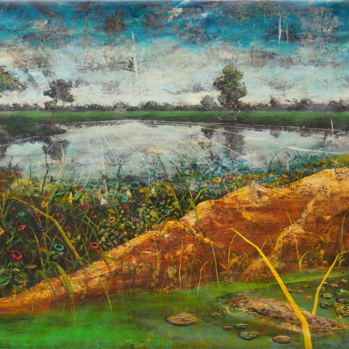 """""""Daisyworld"""", acrylic and oil on canvas, 39½"""" x 81"""" (126 x 206cm)"""