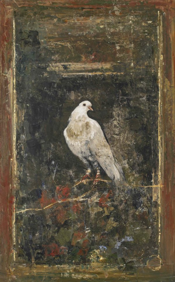 """Limited edition marouflage of a white bird perched on a branch against a dark background by Goxwa titled """"Bird of Pompei."""""""