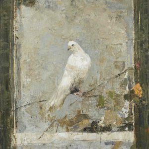 """Limited edition marouflage of a white bird perched on a branch against a light background by Goxwa titled """"Bird on Vine."""""""