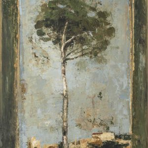 """Limited edition marouflage of a tall, skinny tree against a light blue sky with small country homes in the distance by Goxwa titled """"Evergreen."""""""