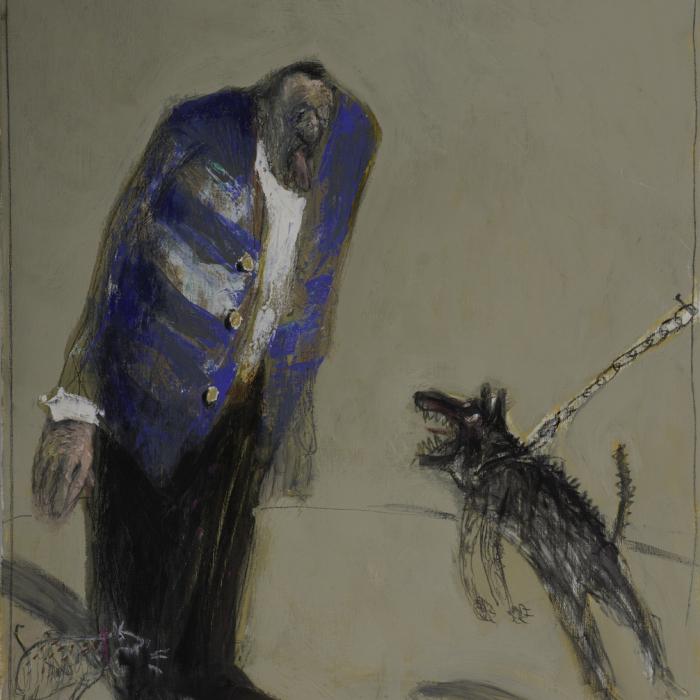 """""""L'emmerdeur"""", mixed media on canvas, 29"""" x 24"""" (73 x 60cm)"""