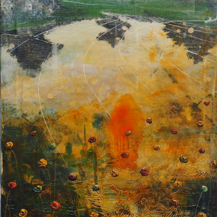 """""""Lake gone bad"""", acrylic and oil on canvas, 63"""" x 23½"""" (160 x 60cm)"""