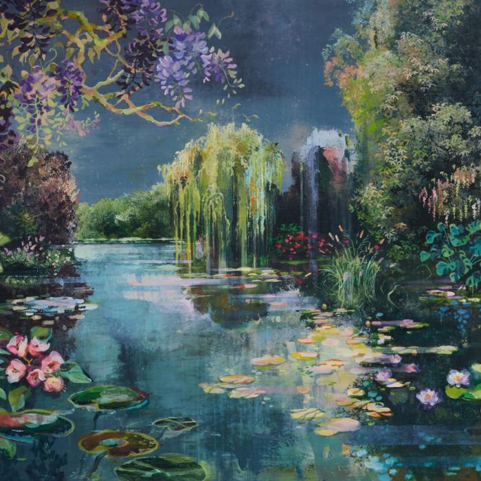 """""""Les Jardins d'eaux et de Feux III,"""" Acrylic, marble powder, and pure pigment on canvas, 38"""" x 76 3/4"""" (97 x 195cm)"""