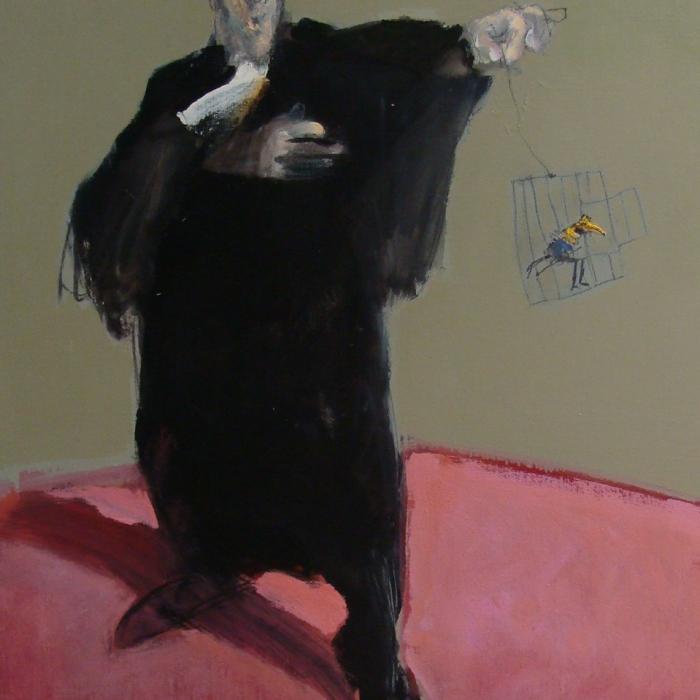 """""""Plaidoyer pour un oiseau rare"""", mixed media on canvas, 36"""" x 28¾"""" (91 x 73cm)"""