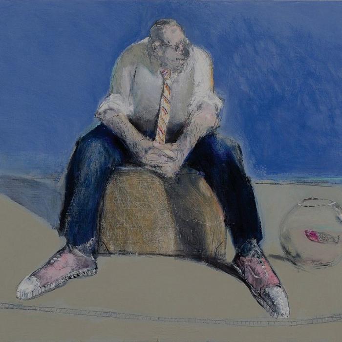 """Raconte-moi l'ocean"", mixed media on canvas, 28¾ x 36 (73 × 91.4cm)"