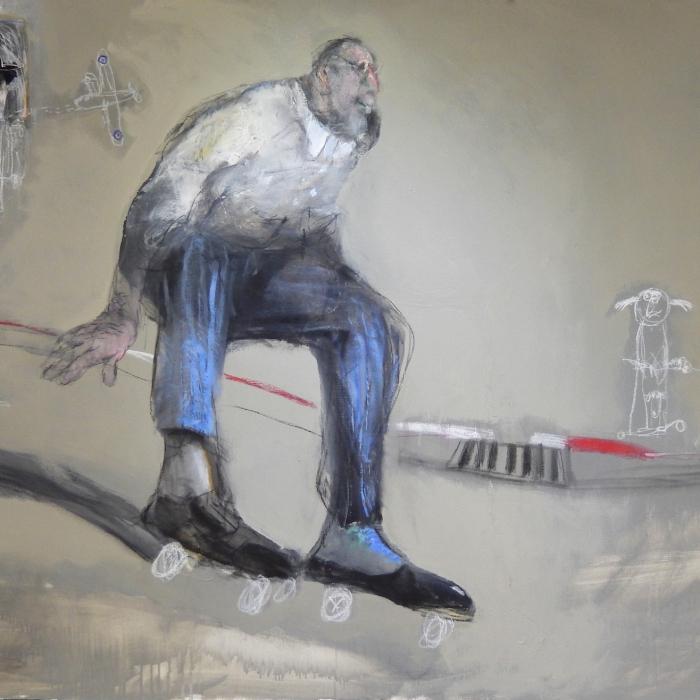 """""""Rue Paradiso"""", mixed media on canvas, 51"""" x 38"""" (130 x 97cm)"""