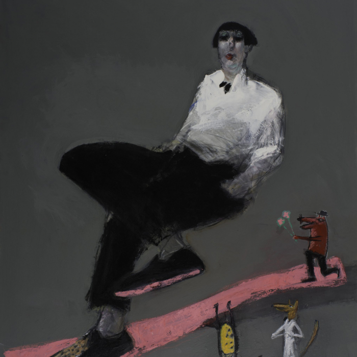"""""""Suzanne et ses amoureux"""", mixed media on canvas, 36"""" x 29"""" (92 x 73cm)"""