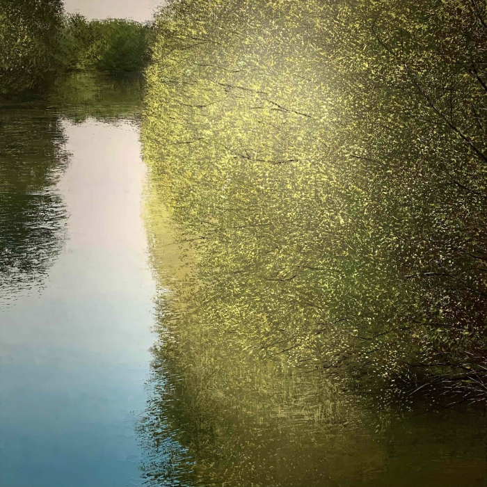 """Oil on canvas painting of lush, green and yellow tree branches stretching over and reflecting upon a crystal blue body of water by Benoît Trimborn titled """"Rivière printemps VII."""""""