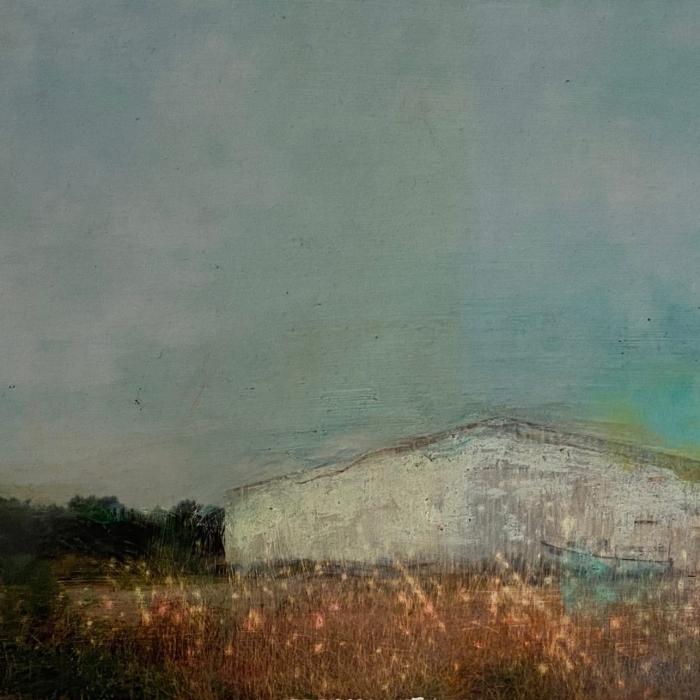 """""""Un lieu inabituel"""", mixed media on canvas, 8"""" x 15¾"""" (20 x 40cm)"""