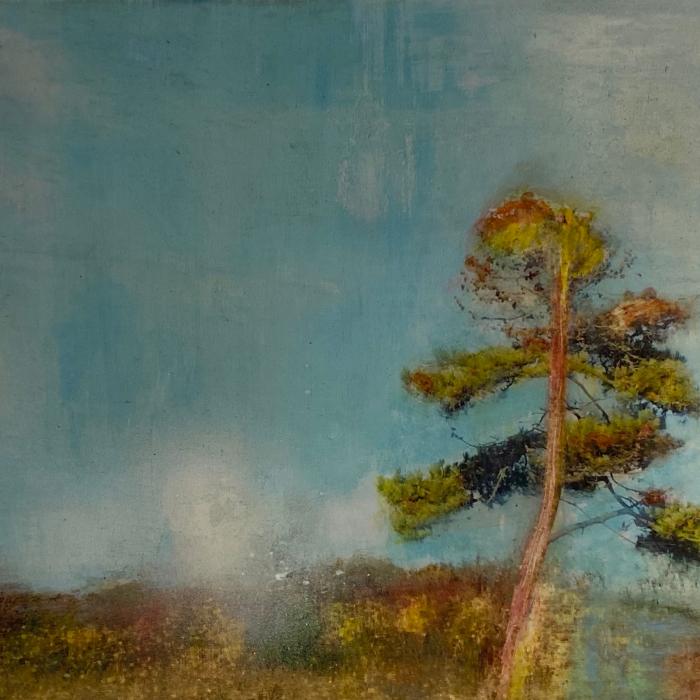 """""""Une pensée pour toi"""", mixed media on canvas, 19¾"""" x 28¾"""" (50 x 73cm)"""