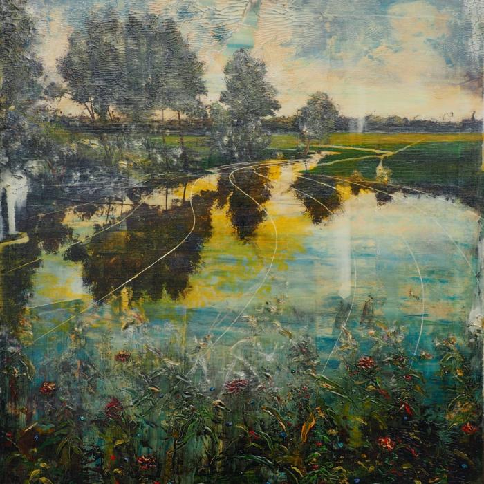 """Yellow stigma"", acrylic and oil on canvas, 47¼"" x 31½"" (120 x 80cm)"