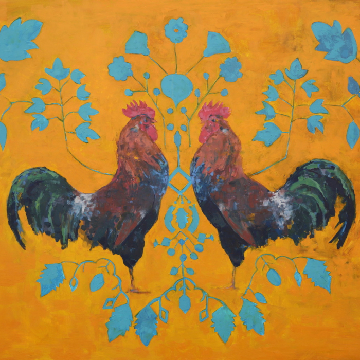 """""""Can you see the rooster on the moon"""", oil on canvas, 48"""" x 60"""" (122 x 152cm)"""