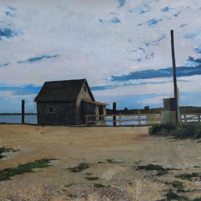 """Lonely shack"", oil on linen, 13"" x 18"" (33 x 46cm)"