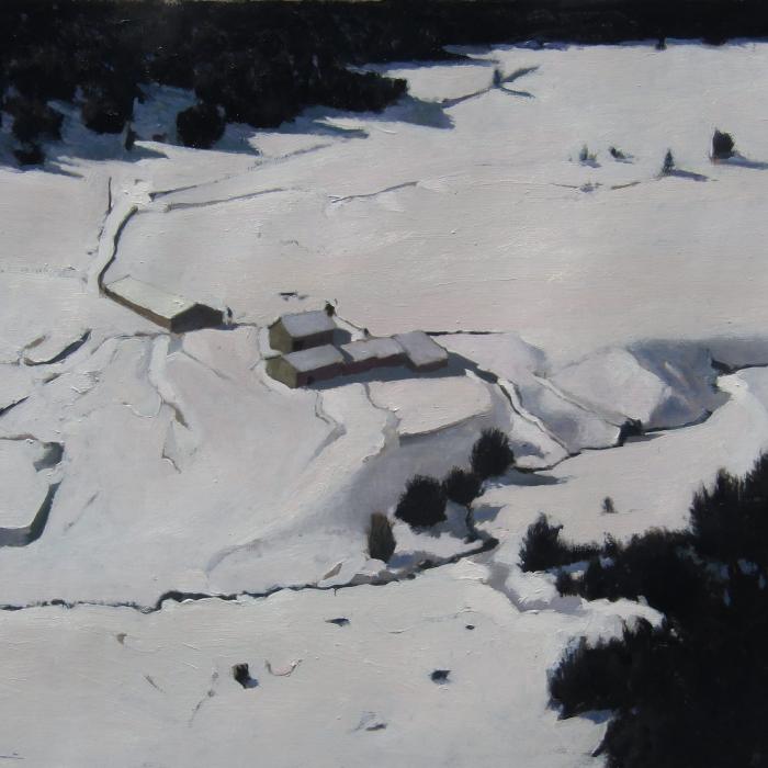 """""""Snow farm, Andorra"""", oil on canvas, 18"""" x 21¾"""" (46 x 55cm)"""