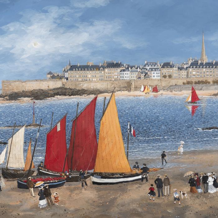 """Les remparts de Saint-Malo"", acrylic on board, 17¾"" x 21¼"" (45 x 54cm)"