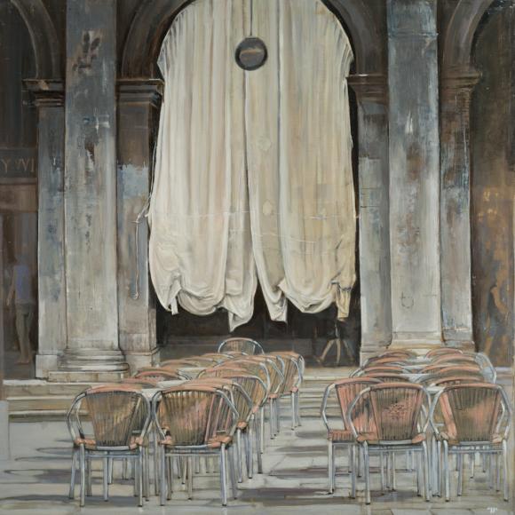 """""""Place Saint Marc"""", Oil on canvas, 40""""x40"""" (102x102cm)"""