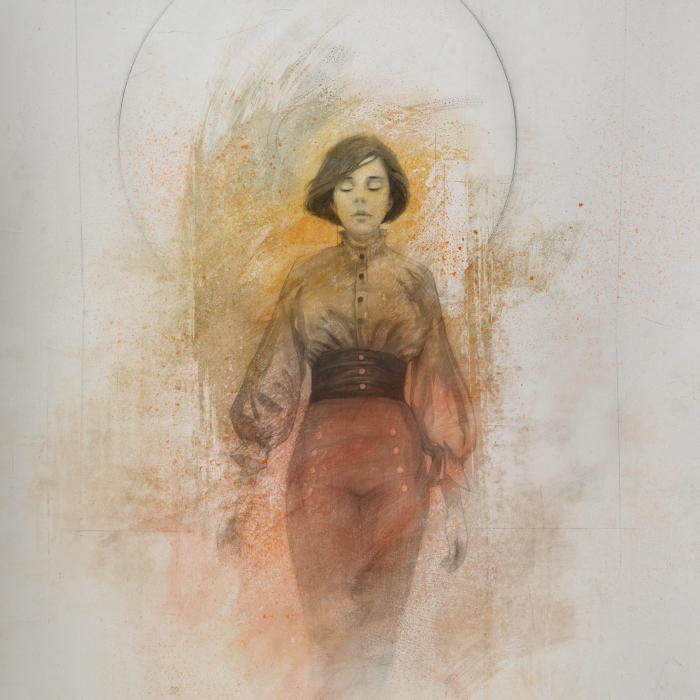 """Victoria"", Graphite and Acrylic on Paper, 38"" x 30"" (96.5 x 76cm)"